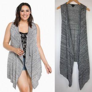 Torrid Marled Knit Drape Vest Size 1X Gray